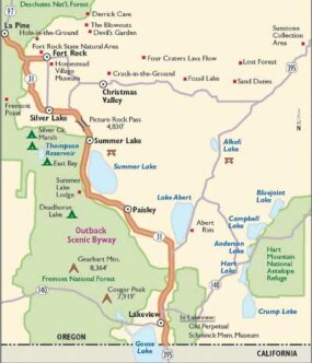 View Enlarged Image This map will guide you along Oregon's Outback Scenic Byway.