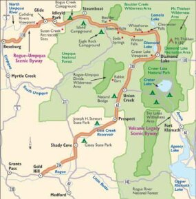 View Enlarged Image This map details the points of interest on the Rogue-Umpaqua Scenic Byway.