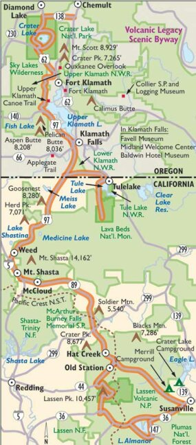 View Enlarged Image This map details the Volcanic Legacy Scenic Byway.