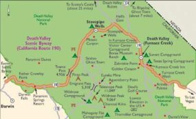 View Enlarged Image This map details the highlights along Death Valley Scenic Byway.