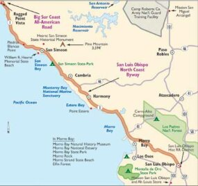 View Enlarged Image This map details San Luis Obispo North Coast Byway.