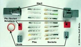 The parts of a typical automotive connector: Everything on the left connects to everything on the right.
