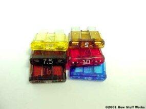 An assortment of automotive fuses