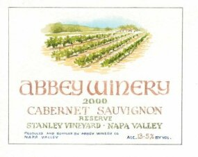 The following numbers correspond to the list below: 1. Abbey Winery, 2. Cabernet Sauvignon, 3. Napa Valley, 4. Stanley Vineyard, 5. 2000, 6. Reserve, 7. ALC. 13.5% by vol., 8. Produced by