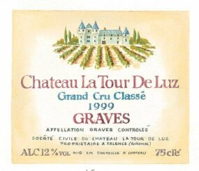 The following numbers correspond to the list below: 1. Chateau La Tour De Luz, 2. Grand Cru Classe, 3. 1999, 4. Graves, 5. Appellation Graves Controlee, 6. Societe Civile, 7. Mis en Bouteillg, 8. ALC. 12% vol, 9. 75 cle