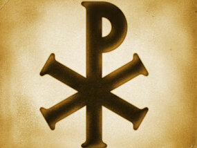 "The Greek symbol chi-rho is represented in the X for ""chi"" and the rho for ""r"" to combine the word, ""Christ."""