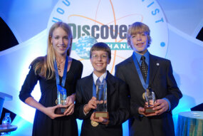 The 2007 winners of the Discovery Education and 3M Young Scientist Challenge: Katherine Strube (2nd place), Erik Gustafson (1st place), and Ambrose Soehn (3rd place)