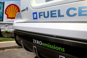 GM's hydrogen-powered Chevrolet Equinox is viewed at a newly-opened Shell Hydrogen fuel station at John F. Kennedy International Airport, on July 14, 2009, in New York.