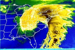 "Satellite map of Eastern United States during 1993's ""Storm of the Century."""