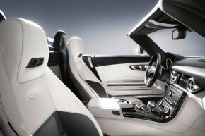The Mercedes-Benz SLS AMG Roadster features the AIRSCARF system as standard equipment -- a neck-level heating system that blows warm air from the driver and passenger-seat head restraints.