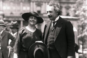 And here's Einstein with his second wife (and cousin) Elsa on April 1, 1921. The two wed on June 2, 1919.