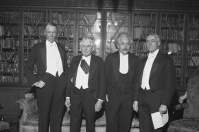 Einstein and three of his fellow Nobel Prize cronies including (left to right) Sinclair Lewis, Frank Kellogg, Einstein and Irving Langmuir. The four, along with others, had gathered for a formal celebration on the 100th anniversary of Alfred Nobel's birth in 1933.
