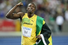 Usain Bolt, one of the speediest men this universe has ever seen, celebrates after winning the men's 100-meter final in a world record time of 9.58 seconds during the 2009 world track championships.