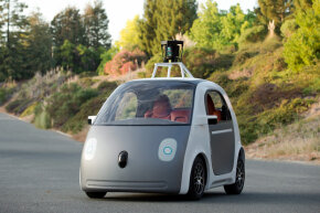 Google's latest self-driving car design — steering wheel and pedals not included.