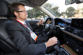 Audi demonstrated its Piloted Parking system at the 2013 Consumer Electronics Show in Las Vegas, Nevada.