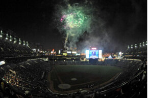 The huge HDTV at Turner Field is a fireworks show all by itself. This photo was taken after a game against the Washington Nationals on April 11, 2009.