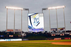 The Royals' screen in Kansas City, Mo., shown on April 9, 2008, before a game against the New York Yankees, towers over the stadium.