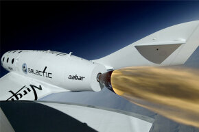 Close-up of the SpaceShipTwo during its first rocket-powered flight on April 29, 2013.