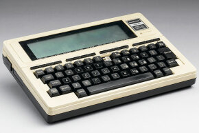 This is the TRS-80 Model 100, an extension of the original TRS-80 with a built-in liquid crystal display (LCD) screen. How's that for a tablet?