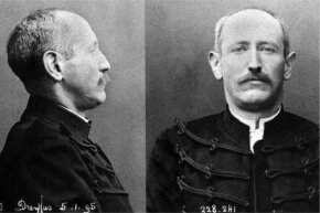 A stoic Dreyfus faces the camera at the time of his dishonorable discharge. Dreyfus, of course, would later be pardoned and proclaimed innocent, but not before his case bitterly divided France for years.