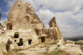Part of the warren of ancient, man-made caves in the Cappadocia region of Turkey. If you visit Cappadocia, you can actually stay in a cave (or a cave-style accommodation).