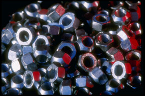 A pile of lug nuts at the Charlotte Motor Speedway in Concord, N.C.