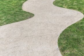 Pouring salt on this walkway during a snowy winter might seem like a good idea -- until spring hits and the brown spots materialize.