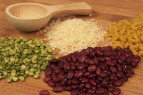 Long shelf life makes dried pasta and beans a great bulk buy.
