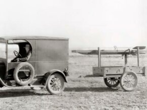 Dr. Robert Goddard, one of the fathers of modern rocketry, tows a rocket to its launch site 15 miles northwest of Roswell, New Mexico. Dr. Goddard most likely knew the importance of keeping speed to a minimum.