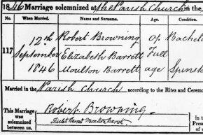 Robert Browning and Elizabeth Barrett's marriage certificate.