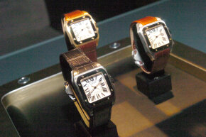 The Cartier Santos Watch during The 100th Anniversary of The Cartier Santos Watch 1904 - 2004 held at The Lexington Avenue Armory in New York, New York.