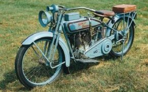 The 1916 Harley-Davidson J wears Harley's traditional gray paint -- the last Harley model to do so. See more motorcycle pictures.
