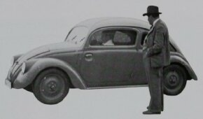 The Volkswagen Beetle was born from a desire to put the Third Reich on wheels. Here, Ferdinand Porsche observes a 1930s Beetle prototype. See more Volkswagen Beetle pictures.