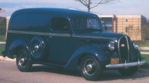 Ford's reskin of its 1938 trucks brought an oval-shaped grille and more car-like styling touches, as evidenced on this 1938 Ford Panel Delivery. See more classic truck pictures.