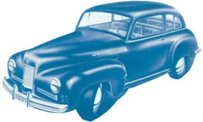 This wartime sketch showed a 1947 license plate, signaling the planned debut year of the Willys 6/66 .