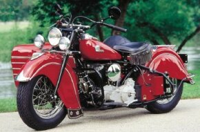 The 1946 Indian Chief became the company's only model after the war. This fine example is equipped with the factory sidecar. See more motorcycle pictures.