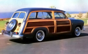 The wood framework on Ford's 1949-1951 wagons was put together with multiple pieces of planking instead of solid pieces.