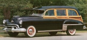 The final year for wood-bodied station wagons like this Oldsmobile 76 was 1949. See more classic car pictures.