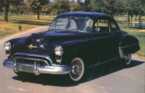 Styling on the 1950 Oldsmobile Series 76 was very similar to the 1949 model. See more classic car pictures.