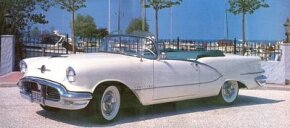 The 1956 Starfire Ninety-Eight convertible stood at the top of the Oldsmobile model lineup. See more classic car pictures.