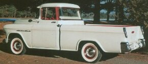 The 1955 Cameo Carrier, Model 3124, came painted only in Bombay Ivory with Commercial Red accents.