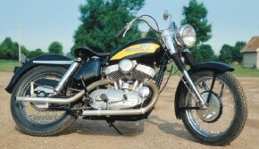 The 1956 Harley-Davidson KHK featured lower handlebars, less chrome trim, and more-performance oriented camshafts. See more motorcycle pictures.