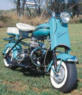"""Cushman Eagle's """"big bike"""" mechanical features included telescopic front forks and a hand-shifted two-speed transmission. See more motorcycle pictures."""