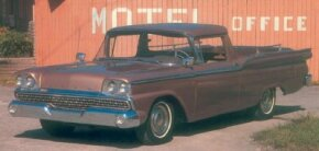 Last of the full-size Rancheros, the revamped 1959 Ford Ranchero sold quite well despite competition from Chevrolet's new El Camino car-pickup. See more classic truck pictures.