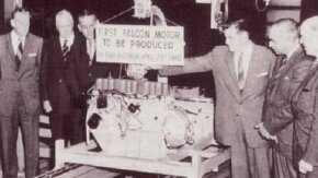 The first Australian-built Falcon six-cylinder engine came off the line in April 1960.