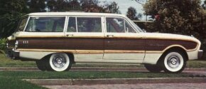 The XL generation of Ford Falcons included the debut of a Squire station wagon with pseudo-wood trim.