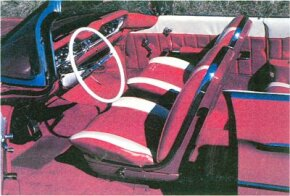 The 1960 Oldsmobile small Super 88 had flashy two-tone interior bucket seats and plenty of chrome trim.