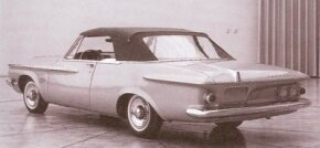 This 1962 Plymouth S-series concept car clay model wears offset hood and rear deck fins. Designer Exner liked the look, but Chrysler brass ditched it.