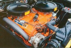 "A new 426-cubic-inch ""Ramcharger"" engine made at least 415 horsepower with dual carburetion."