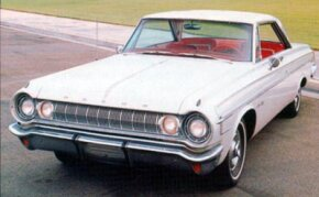 "A convex ""barbell"" grille set the headlights side-by-side on the 1964 Dodge Polara 500."